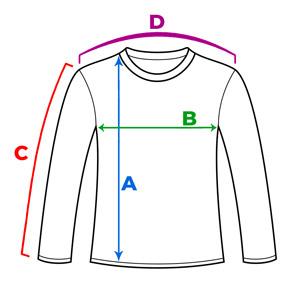 راهنمای انتخاب سایز تیشرت آستین بلند